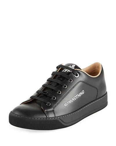 Men's Text-Embroidered Leather Low-Top Sneakers
