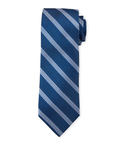 Men's Diagonal Striped Silk Tie