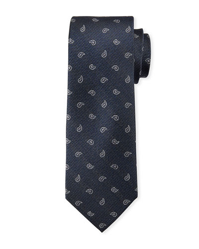 Men's Small-Paisley Print Silk Tie