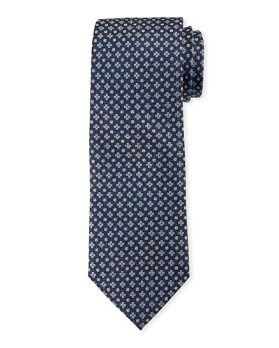 Men's Clover/Dot Patterned Silk Tie