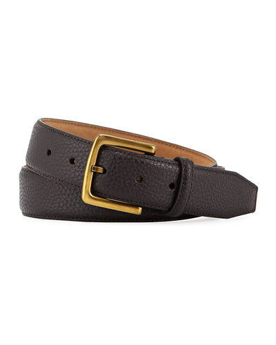 Men's Pebbled Leather Belt