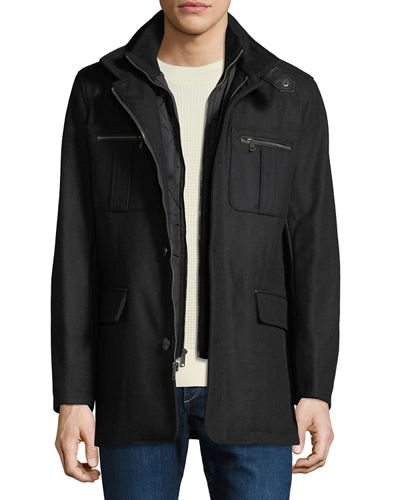 Men's Milton Car Coat with Knit Bib