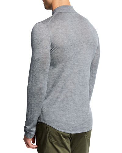 Men's Cashmere Knit Long-Sleeve Polo Shirt