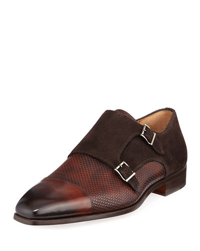 Magnanni for Neiman Marcus Mixed Leather Monk Loafer