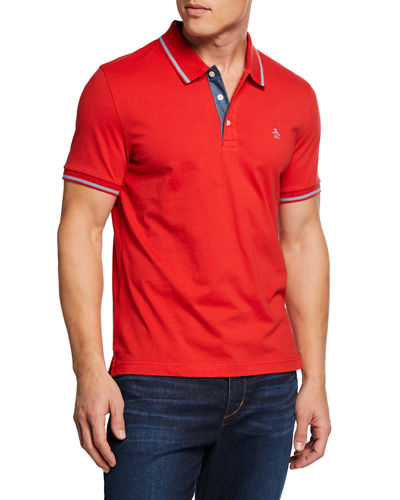 Men's Contrast Stripe Short-Sleeve Polo Shirt