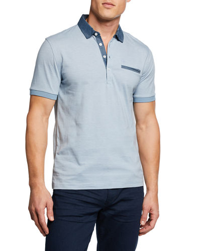 Men's Chambray Cotton Polo Shirt