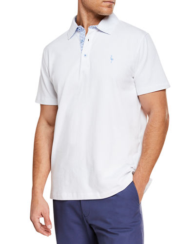 Men's Contrast-Placket Short-Sleeve Polo