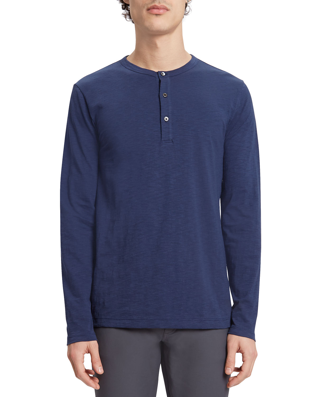 Theory Cottons MEN'S ESSENTIAL LONG SLEEVE HENLEY SHIRT