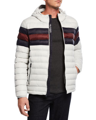 MODERN AMERICAN DESIGNER Men'S Hooded Puffer Jacket in White Color Block