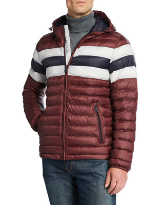 MODERN AMERICAN DESIGNER Men'S Hooded Puffer Jacket in Red Color Block