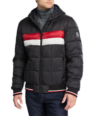 MODERN AMERICAN DESIGNER Men'S Mid Weight Quilted Hoodie Bomber Jacket in Black Color Block