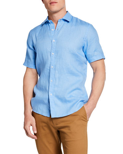 Short-Sleeve Linen Sport Shirt