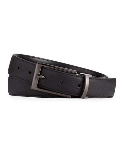 Smooth Pebbled Leather Belt