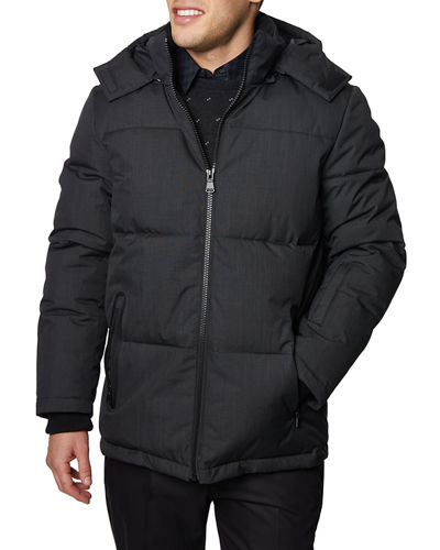 Men's Puffer Jacket with Removable Hood
