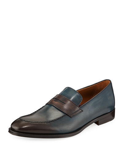 Men's Fanetta Burnished Leather Penny Loafers