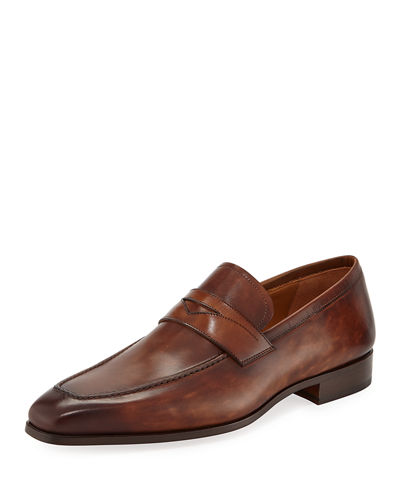Men's Antiqued Leather Penny Loafers