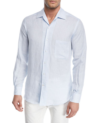 2af390d8b Loro Piana Andrew Long-Sleeve Linen Shirt