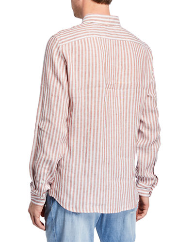 Men's Stripe Linen Sport Shirt