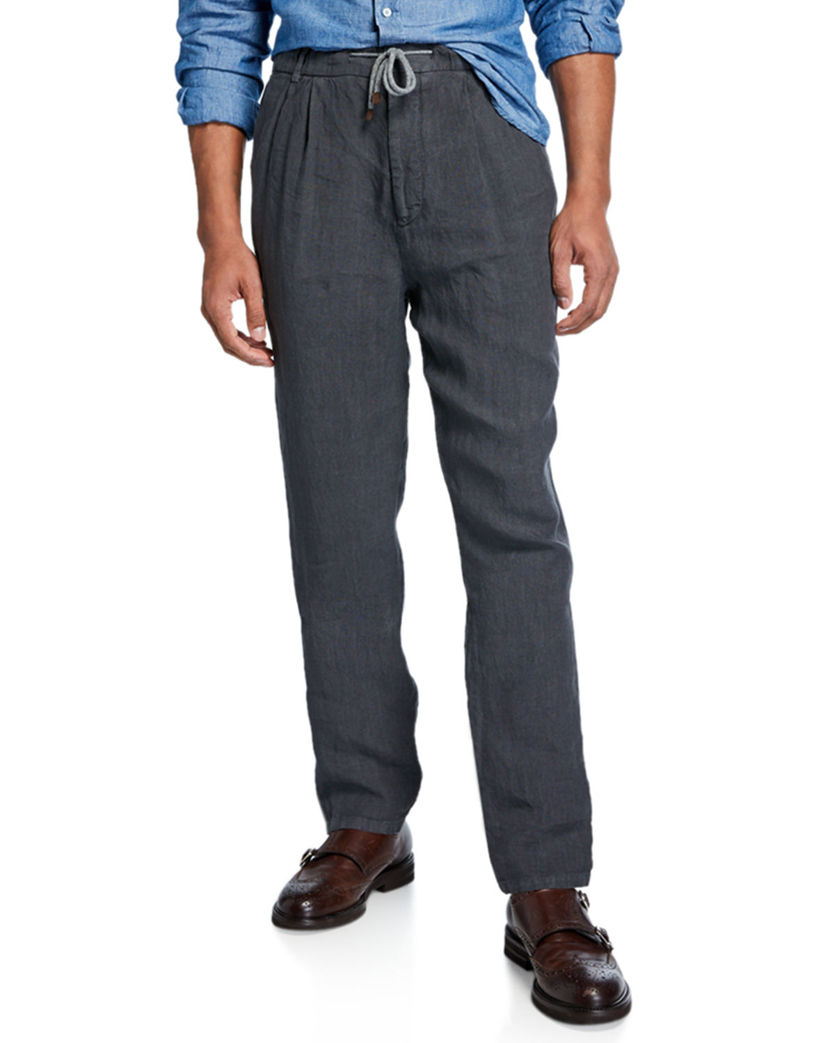 Men's Drawstring Pleated Trousers