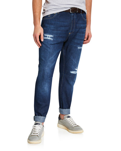Men's Straight-Leg Distressed Jeans