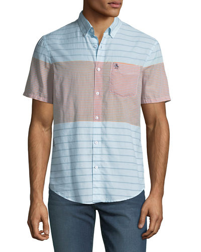 Men's Engineered-Stripe Short-Sleeve Sport Shirt