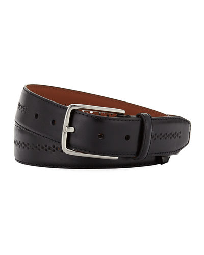 Men's Burnish Center-Brogue Leather Belt