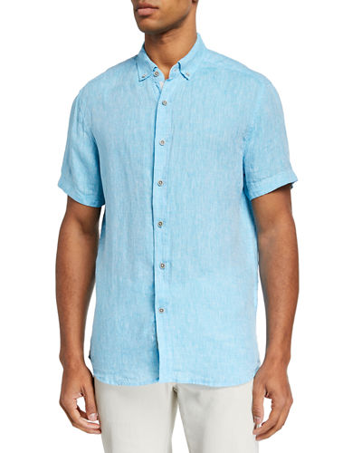 Men's Button-Down Short-Sleeve Linen Shirt
