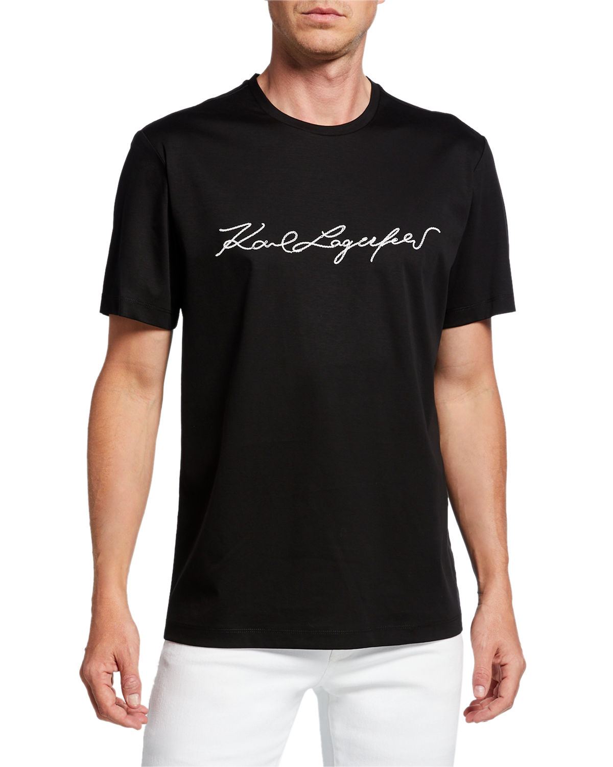 Karl Lagerfeld T-shirts MEN'S CREWNECK LOGO SIGNATURE T-SHIRT
