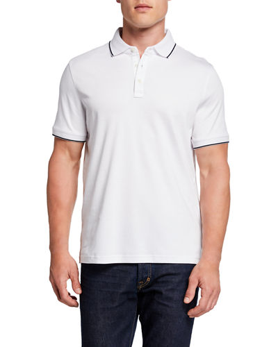 Men's Short-Sleeve Contrast Stripe Polo Shirt