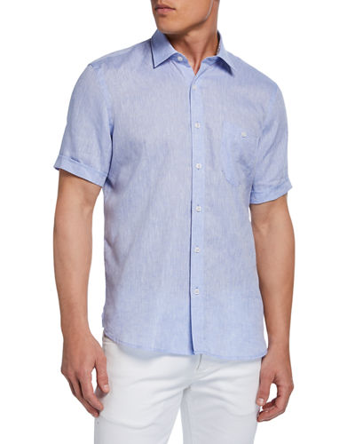 Men's Short-Sleeve Linen Chambray Shirt
