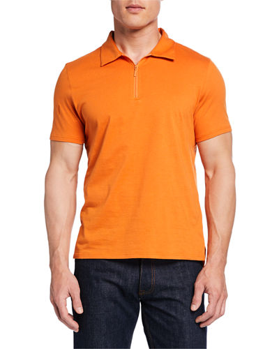 Men's Short-Sleeve Zip-Front Polo