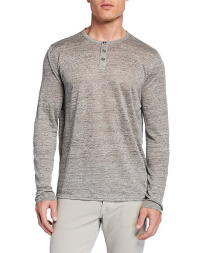 Men's Long-Sleeve Linen Henley Shirt