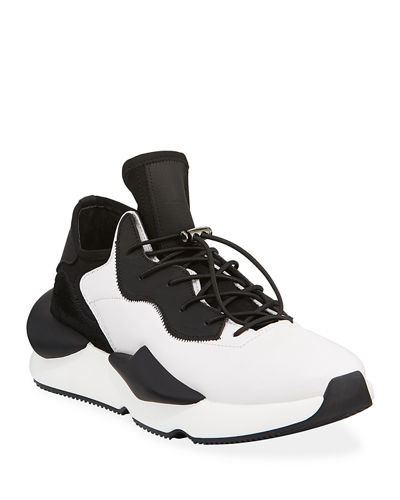 Men's Drawstring Mid-Top Leather Sneakers