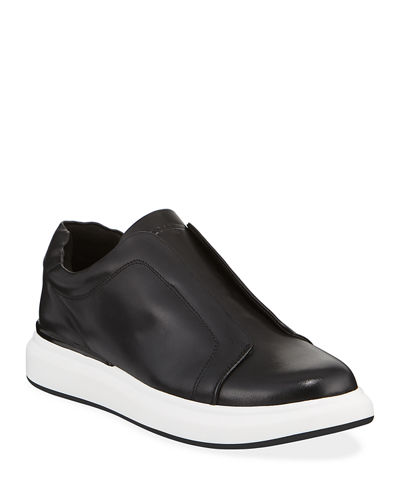 Men's Laceless Low-Top Leather Sneakers