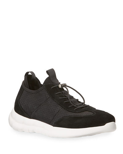Karl Lagerfeld Paris Men's Drawstring Low-Top Suede Sneakers