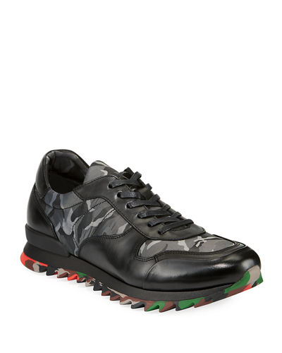 Men's Camo Print Leather Sneaker