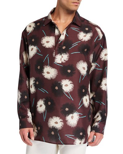 Men's Silk Dandelion-Print Long-Sleeve Pullover Shirt
