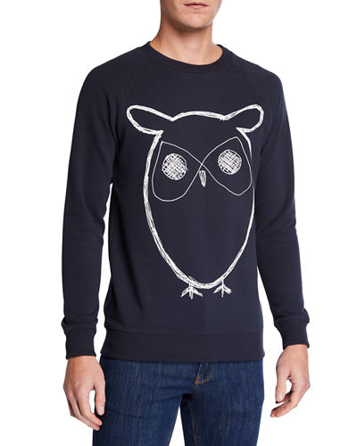 Men's Big Owl Graphic Print Fleece Sweatshirt