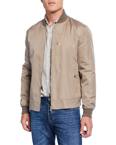 Men's Silk Bomber Jacket