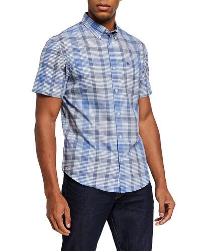 Men's Mini Plaid Woven Shirt