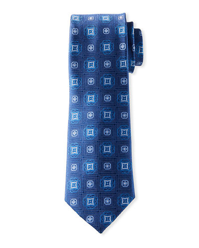 Men's Medallion-Print Silk Tie