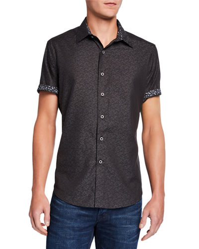 Men's Ash Grove Diamond Flower-Print Sport Shirt