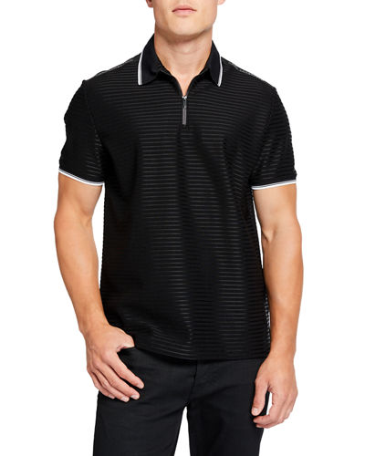 Men's Zip-Front Tonal Stripe Polo Shirt