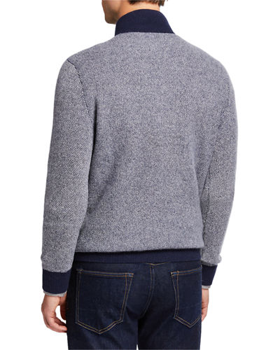 Men's Cashmere Two-Tone 1/4-Zip Sweater