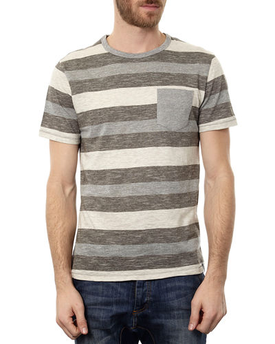 Men's Colorblock Stripe Short-Sleeve Tee w/ Patch Pocket