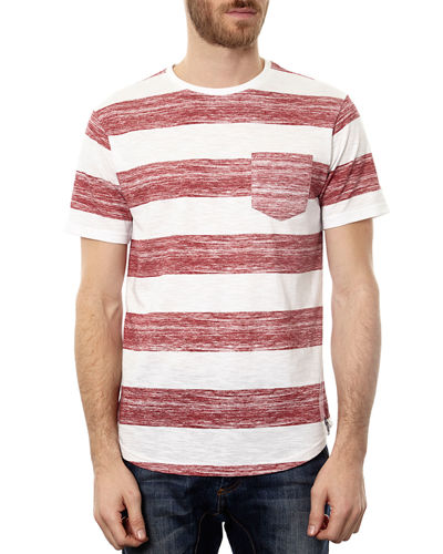 Men's Striped Short-Sleeve Curved-Hem T-Shirt