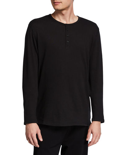 Men's Long-Sleeve Raw Edge Henley Top