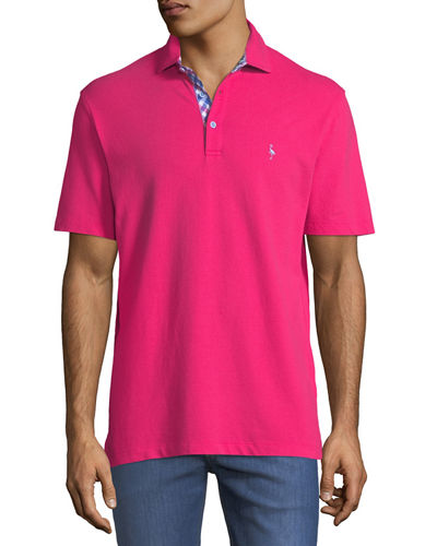 Contrast-Placket Short-Sleeve Polo