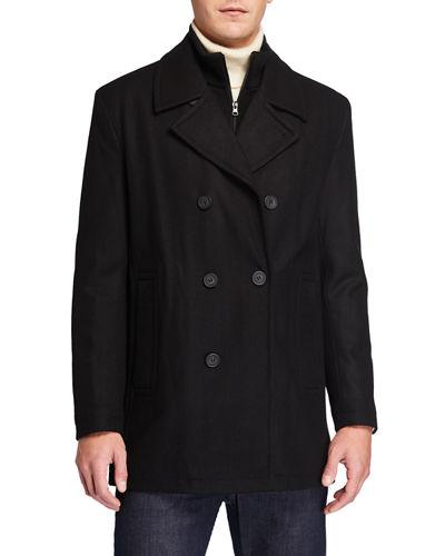 Men's Burnett Classic Wool-Blend Melton Peacoat
