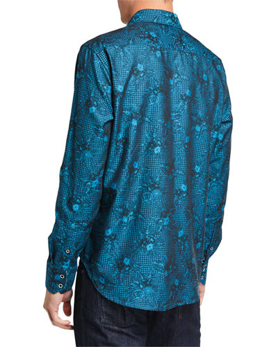 Men's Edmar Abstract Long-Sleeve Cotton Sport Shirt
